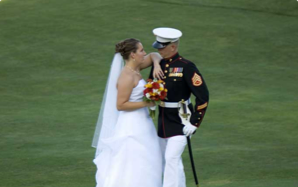 Marine with bride